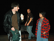 Nick Klissiaris, Luke Sorge and Tayla Ealom in a scene from Neil LaBute's The Distance From Here, directed by Felicia Marti