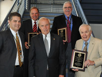 Distinguished professors Joseph Kay, Wayne Cascio, Richard Traystman and Peter deLeon, with CU President Bruce Benson