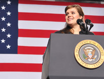 Mahala Greer introducing President Obama