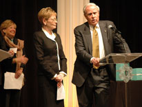CU President Bruce Benson and his wife, Marcy, address the crowd for the donor dinner