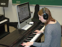 A spectrum of musical genres is at the fingertips of students in the Piano Lab at the University of Colorado Denver