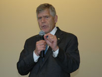 Incoming Chancellor Don Elliman speaks at the Town Hall meeting Monday