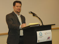 Attorney Sean McAllister speaks about drug policy reform at the Lunch with Lawmakers session