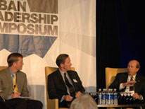 CU Denver Chancellor Jerry Wartgow, right, talks about partnerships at leadership forum