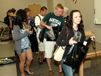 Lakewood High students grab CU Denver souvenirs at College Friday