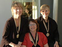 Ellen Stevens, Sally Nathenson-Mejia and Deanna Sands are pictured at the CU Denver 25-year faculty celebration