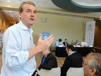 U.S. Sen. Michael Bennet talks about the crowdfunding law at a CU Denver seminar