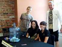 CU Dehver students staff a table taking donations for Colorado wildfire victim relief efforts
