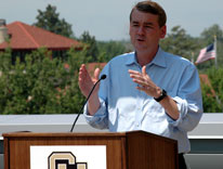 Sen. Michael Bennet explains how Denver was selected for one of three satellite patent offices during a news conference