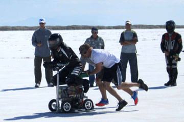CU Denver engineering students race their motorized barstool at the Utah Salt Flats