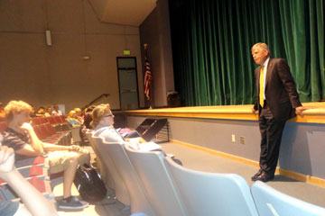 CU Denver Chancellor Don Elliman talks to students at Green Mountain High School