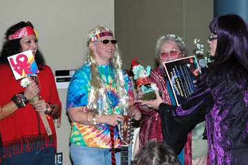 Registrar's Office dresses as Hippies for the annual Staff Council Halloween Contest