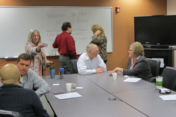 CU Denver faculty members learn about research options at the Research Forum