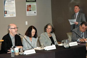A panel discusses a range of topics at the CU Denver Undergraduate Experiences Symposium