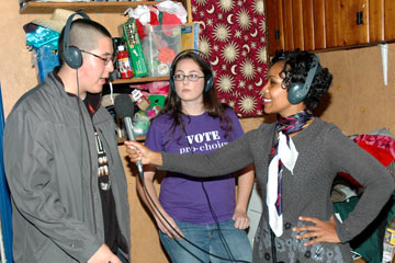 CU Denver students are interviewed on election night by BBC reporter Lerato Mbele