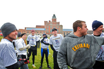 Members of the CU Denver Veteran Team play flag football in the Veterans Day tournament