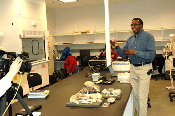 Charles Musiba talks about early human fossils during Scientists in Action program