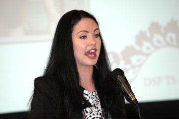 CU Denver student Samantha Miles talks as an Achiever Speaker at TRIO Day