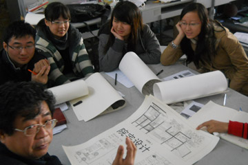 Architecture and design students in classroom at Southeast University.
