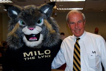 CU President Bruce Benson meets CU Denver mascot Milo the Lynx