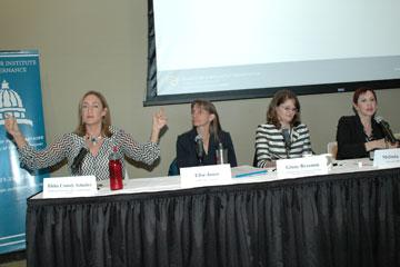 Panelists discuss energy development during a Buechner Breakfast at CU Denver