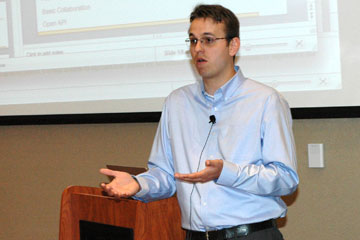 Devlin Daley speaks about his Canvas Learning Managment system at the CU Online Symposium