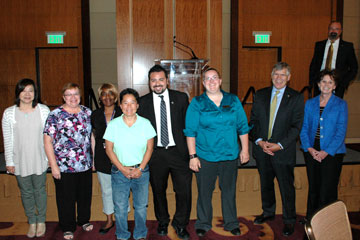 Staff Council employees of the month pose at the employee recognition lunch