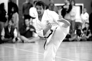CU Denver Professor David Liban practices karate as he undergoes a midlife self-improvement crusade