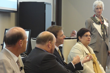 """Panel discussing """"Denver: The Commodity City"""", moderated by CU Denver Business School Dean Sueann Ambron (far right)"""