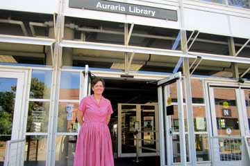 Meg Sica-Brown stands outside Auraria Library