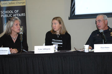 Panelists speak at the Crime and Weapons in Colorado briefing at CU Denver