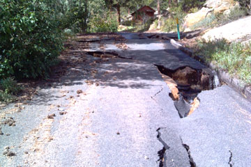 Roads are cracked in Estes Park, where a CU Denver pharamacy student is serving as a visiting pharmacist