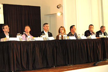 A panel discusses information systems technology at CU Denver Business Executive Panel Event