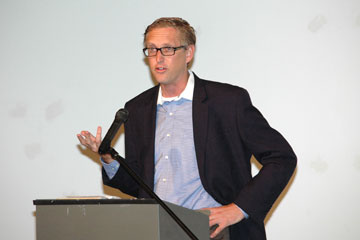 GLI Executive Director Jamie Van Leeuwen speaks at GLI celebration event in Denver