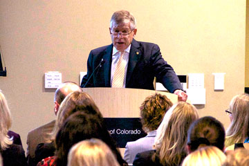 CU Denver Chancellor Don Elliman addresses the audience at the State of the Campus speech