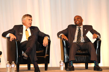 Chancellor Don Elliman and Denver Mayor Michael Hancock talk at the CU Denver 40th anniversary gala