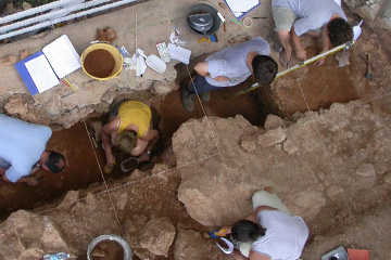 Excavation at Riparo Bombrini in Italy
