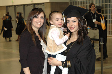 Natasha Lujan celebrates graduation from CU Denver with daughter Sienna and mother Michelle Bianchi