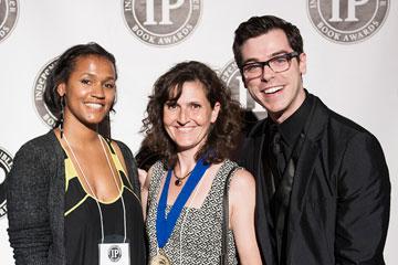 Roxanne Davison, left, and Carol Golemboski, center, were honored at the Independent Publisher Book Awards
