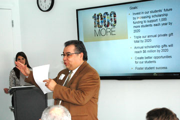 Raul Cardenas, associate vice chancellor for Student Affairs at CU Denver, announces the 1,000 More scholarship initiative