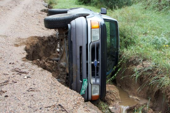 Road collapse during Colorado floods