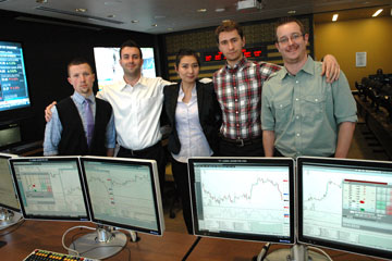 Members of the CU Denver Business School team that advanced in Trading Challenge pose in JP Morgan Center for Commodities