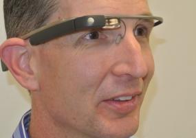 Bud Talbot, PhD, wears Google Glass in class.