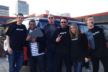 The AppIt Ventures team, led by CU Denver student Rob Carpenter, gathers for a photo in downtown Denver