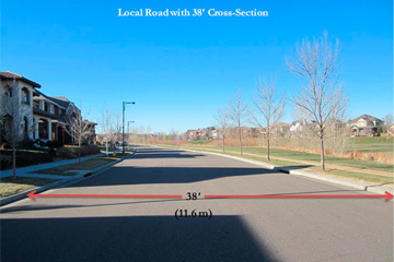 Stapleton, local road width 38' cross-section