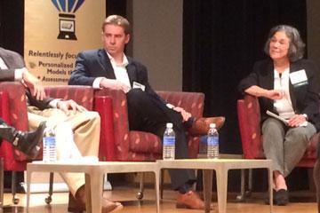 CU Denver School of Education Dean Rebecca Kantor leads a panel discussion on STEM education
