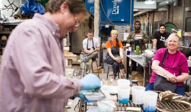 David Lobdell preparing for the Iron Art Festival, 2015