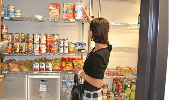 Sabitra shops at the Food Pantry