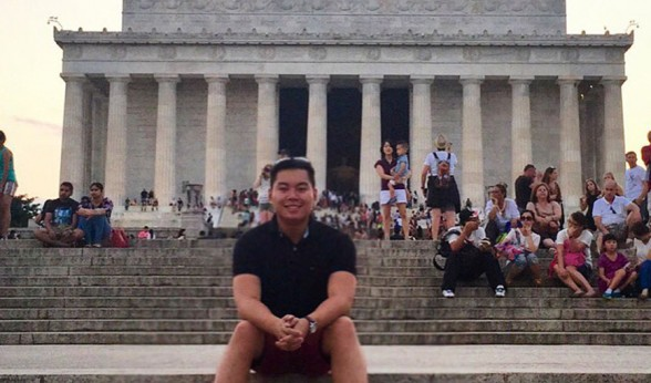 Johnnie Nguyen at the Lincoln Memorial during his summer internship in Washington, DC