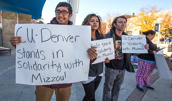 CU Denver demonstration at Tivoli